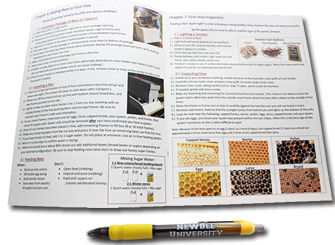 beekeeping workbook with pen